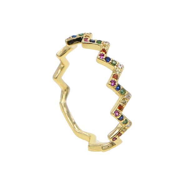 טבעת גולדפילד צבע זהב משובצת קריסטלים צבעי קשת