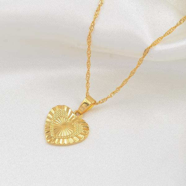 שרשרת תליון לב רומנטי צבע זהב