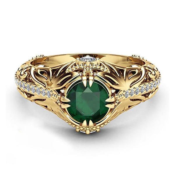 """טבעת זהב בשילוב קריסטל ירוק בהשראת """" הכלה מאיסטנבול"""""""