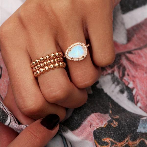 טבעת גולדפילד צבע זהב \ זהב ורוד בשילוב אבן
