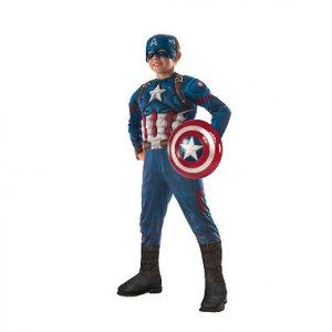 """תחפושת קפטן אמריקה דלוקס עם מגן מידה S ילדים (4-6 ארה""""ב)"""