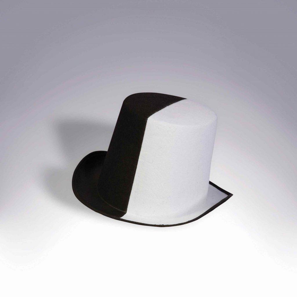 """כובע מגבעת שחור לבן """"חצי חצי"""""""