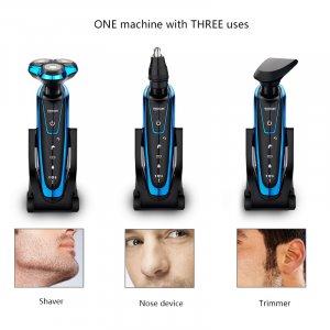 מכונת גילוח מקצועית נטענת עם 3 ראשים מתחלפים לשיער זקן, אף ופיאות