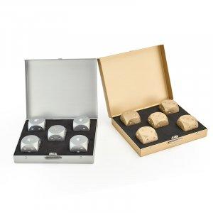 5 אבני ויסקי מאלומיניום בצורת קוביות משחק