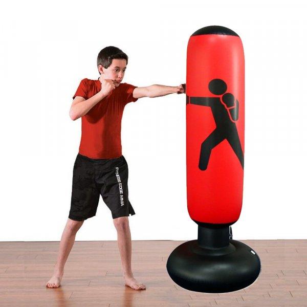 שק איגרוף מתנפח עם מעמד איזון לרצפה ומשאבת אוויר