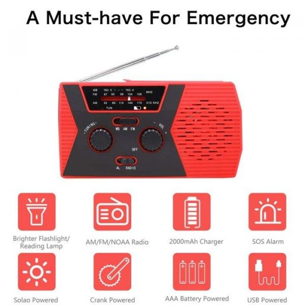 רדיו ופנס הניתנים להטענה ידנית או סולארית