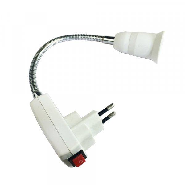פלאג לחיבור מנורות לשקע החשמל עם מאריך מתכוונן גמיש