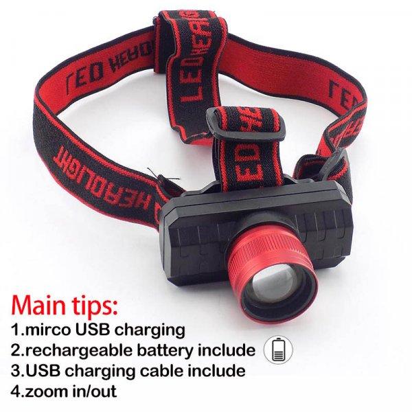 פנס ראש הנטען באמצעות USB