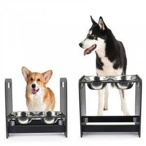 זוג קערות האכלה לכלב הניתנות להגבהה על מעמד