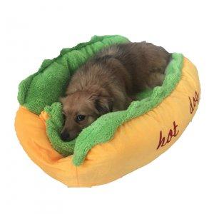 """מיטת נקניקיה """"HOT DOG"""" לכלב עם כרית"""