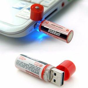 2 סוללות AA הנטענות באמצעות חיבור USB