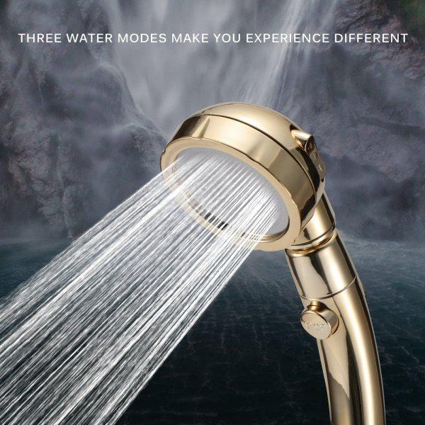 360 מעלות מסתובב מקלחת ראש מתכוונן מים חיסכון ראש מקלחת 3 מצב מקלחת מים לחץ מקלחת ראש עם להפסיק כפתור